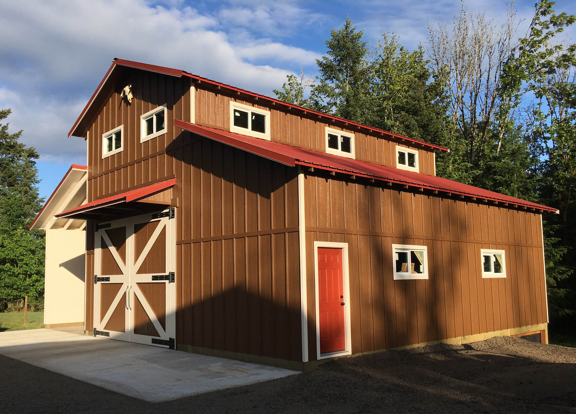 North Plains Barn with Paintable Ship Lap Smart Panel Siding Side View