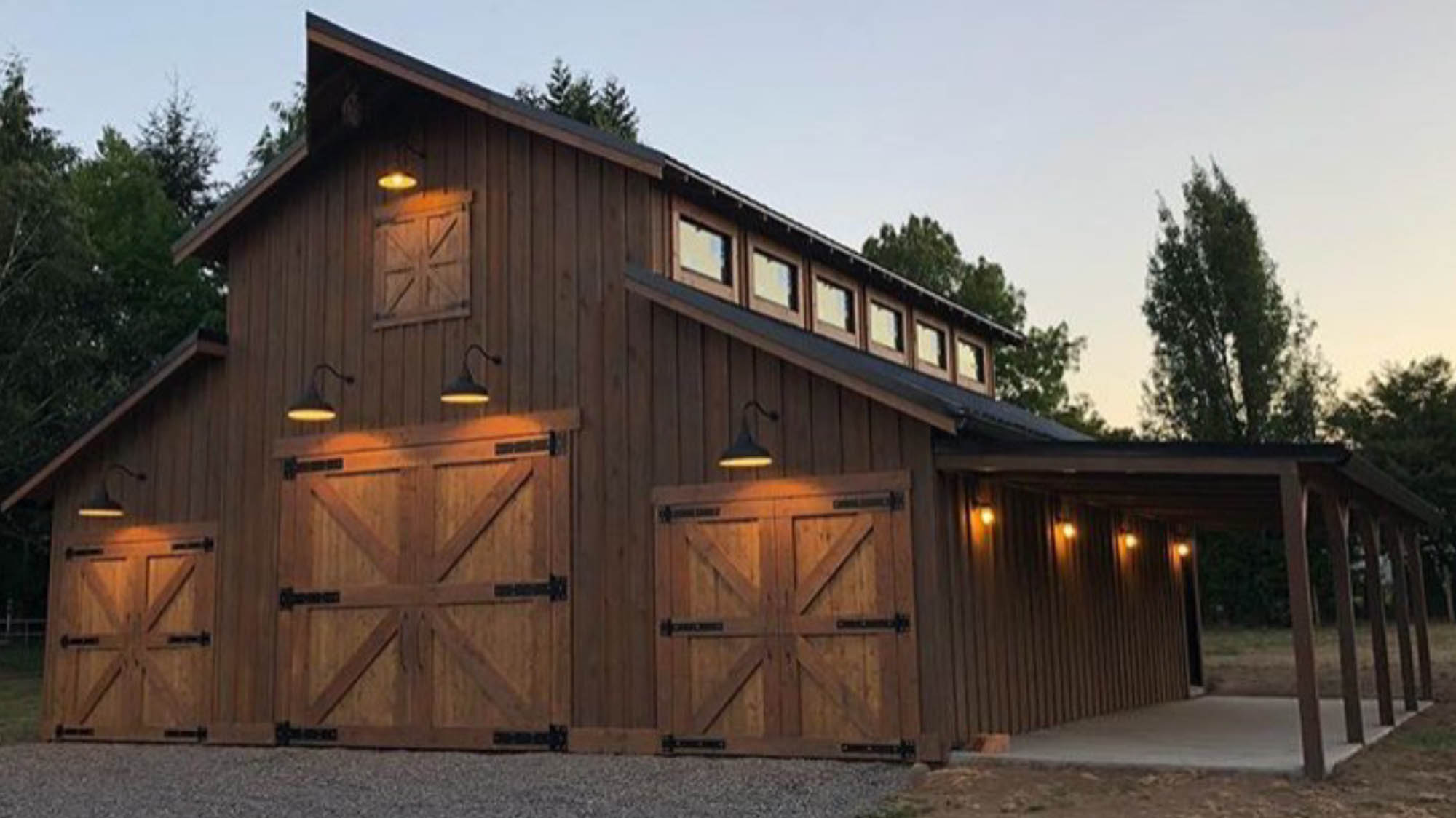 Salmon Creek Barn at night